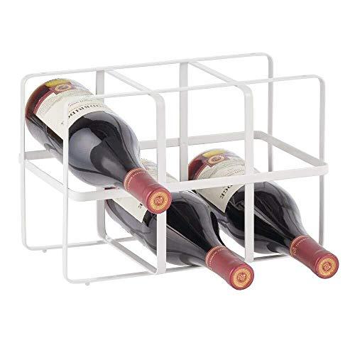 GLYYR Weinregal Freistehender Weinträger - Weinhalter für bis zu 6 Flaschen - Weinflaschenregal für Küchen, Esszimmer und mehr - mattweiß (Color : Matte White)