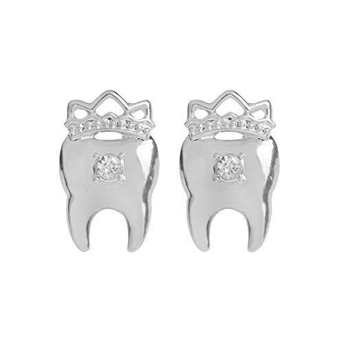 Gudeke Ohrring aus Legierung mit Diamant Ohrringe Frau Zähne-Ohrstecker Krone (Silber)