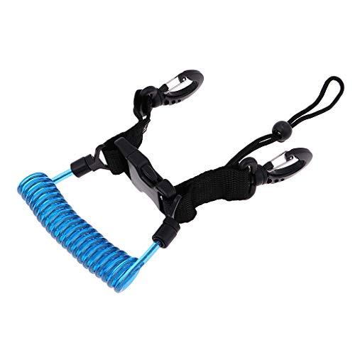 SM SunniMix Correa de Muñeca de Cordón de Cable en Espiral de Calidad con Hebilla de Enchufe de Gancho a Presión para Luz de Buceo de Cámara - Azul + Negro