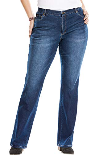 Woman Within Women's Plus Size Petite Bootcut Stretch Jean - Indigo, 18 WP