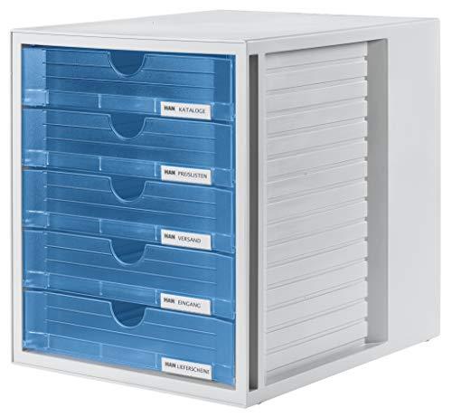 HAN 1450-64 Cassettiera System-Box, design attrattivo ed innovativo con 5 cassetti chiusi, grigio chiaro- traslucente blu