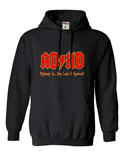 Go All Out Large Black Adult ADHD Highway to Hey Look A Squirrel Funny Music Sweatshirt Hoodie