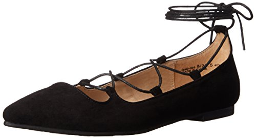 Chinese Laundry Women's Endless Summer Ghillie Flat, Black Suede, 8.5 M US