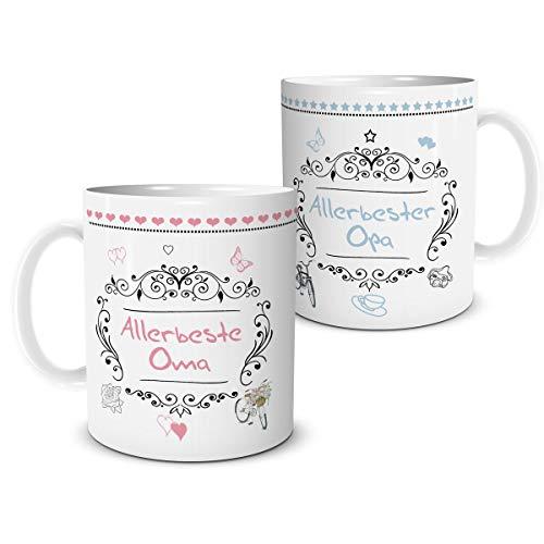 2er Tassen Set Allerbeste Oma Opa mit Spruch Geschenk für Beste Großeltern Großmama Großpapa Geburtstag Hochzeitstag Jubiläum
