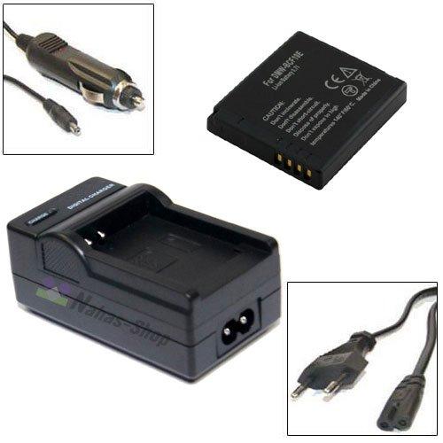 Nahas-Shop Akku DMW-BCF10E + Ladegerät für Panasonic Lumix DMC-FS6, DMC-FS7, DMC-FS8, DMC-FS10, DMC-FS12, DMC-FS15, DMC-FS25, DMC-FS42, DMC-FS62