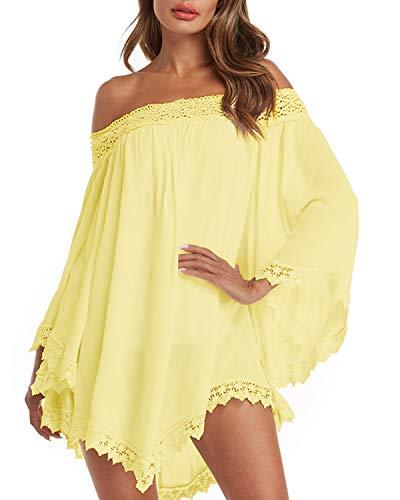 ZANZEA kvinnor axelbandslös miniklänning oregelbunden spets chiffong tunika toppar skjorta ledig lös sommar strandkläder täcka upp