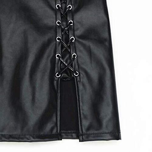 ALIKEEY Moda Mujeres Sexy Sólido Vendaje Falda Corta Alta Cintura Imitación Cuero Mini Falda Fiesta Uniforme Granate Gotica Hippie Hawaiana Irregular Inside Larga Japonesa