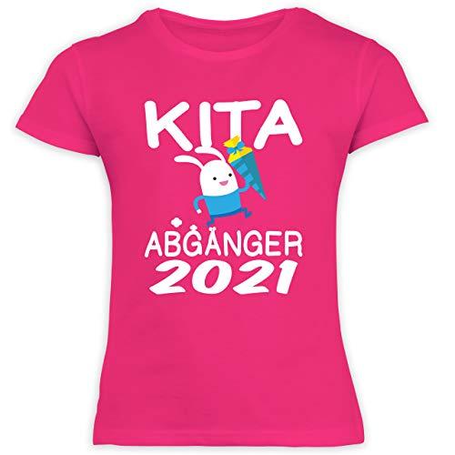 Einschulung und Schulanfang - Kita Abgänger 2021 rennender Hase mit Schultüte - 128 (7/8 Jahre) - Fuchsia - Einschulung mädchen - F131K Schulanfang - Schulanfang Mädchen T-Shirt Kinder
