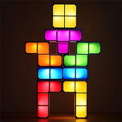 LONGJUAN-C Apilable luz lámpara de mesa de noche LED Tetris apilable escritorio de la tabla de la lámpara 3D Blocks magia DIY Rompecabezas Juguete Urbanizable Bloque Eye-El cuidado lámparas de mesa (c
