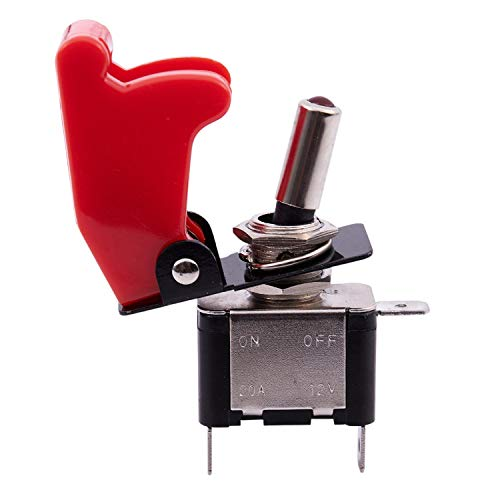 Viudecce 12V 20A Palanca del Interruptor basculante inversor On/Off LED ON-Off SPST + Cubierta Auto Coche -Rojo Oscuro