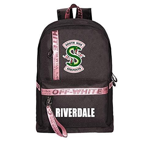 Riverdale Zaino per Studente Uomo Donna Teen,Riverdale South Side Serpent Grande Capacità Personalizzate PC Laptop Stampa Zaino Scuola Zaini Outdoor Backpack Borsa da Viaggio (Nero-Rosa)