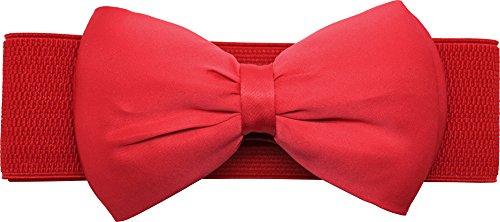 Meta-U Women Flower Elastic Wide Waist Belt (red bow)
