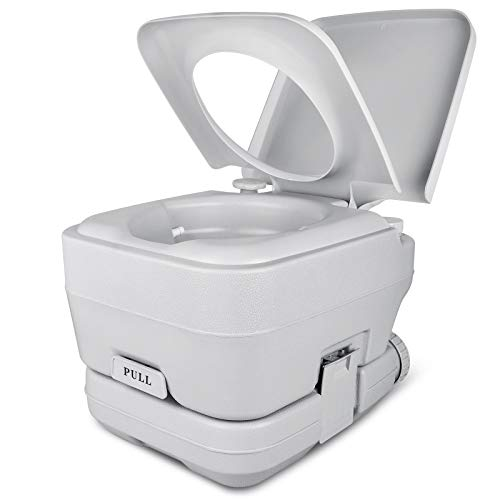 YITAHOME Portable Travel Toilet RV Potty,2.6 Gallon Detachable Tank, Double Outlet Water Spout, Handle Flush Pump,for Camping, Boating,Hiking,Trips