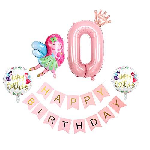 Chexin Geburtstag Dekorationen Rosa, Kindergeburtstag Deko Ballon für Mädchen Babydusche, Folienballon Zahl 0 mit Krone,Happy Birthday Banner, Feen-Mädchen-Ballon, erst Geburtstag Deko Pink Helium Set