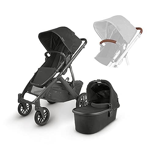 UPPAbaby Vista V2 Stroller - Jake (Black/Carbon/Black Leather) + Leather Handlebar Covers for Vista, V2 - Saddle + Leather Bumper bar Cover for Vista, V2, Cruz, V2 - Saddle