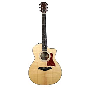 This is the Taylor 114CE Acoustic-Electric Guitar showing the top and bottom of the guitar