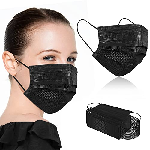 100Pcs Black Disposable Face Masks,Black Face Masks Disposable Breathable 3 Ply Face Masks for Adults,Black Masks Non Medical