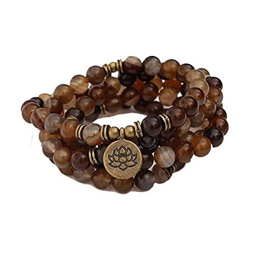 108 pulseras de cuentas Mala para Yoga Chakra raya café joyería de piedra natural mujeres hombres pulsera collar