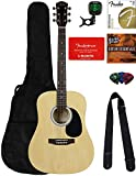 Fender Squier Dreadnought Acoustic Guitar - Natural Bundle with Fender Play Online Lessons, Gig Bag, Tuner, Strings,...