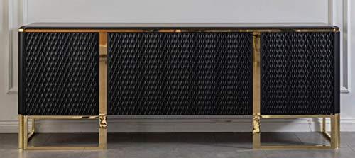 Casa Padrino Luxus Sideboard Schwarz/Gold 220 x 50 x H. 83 cm - Edler Massivholz Schrank mit 4 Türen - Luxus Möbel - Luxus Qualität