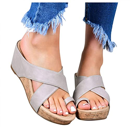 Aunimeifly Sandals for Women Platform Wedge Espadrilles Slipper Open Toe Flip Flops Roman Shoes Casual Summer Beach Sandals