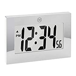 Marathon Large Digital Wall Clock with Fold Out Stand - Big 3.25 Inch Digits - Batteries Included - CL030064SV (Mirrored Finish)