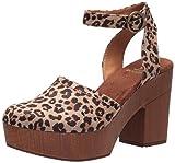 WHITE MOUNTAIN Shoes Tuition Women's Ankle Strap Platform Heel, Natural/Leopard/Suedette, 7.5 M