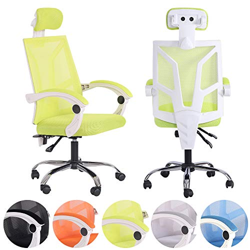 Rapid Teck Ergo Space Bureaustoel, ergonomische bureaustoel, draaistoel, managersstoel, sportstoel, incl. hoofdsteun en armleuning, in hoogte verstelbaar, net-gaming stoel Ergo Space groen/wit.