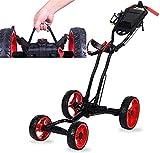 TUHFG Carrito de Golf Carros de Golf eléctricos de 4 Ruedas, Soporte Plegable del Carro de Golf con Mango de Empuje Ajustable y Panel de fútbol multifunción de Freno de scorecard y Freno de pie
