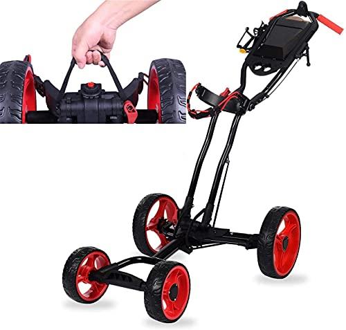 Carrito de Golf Carros de golf eléctricos plegables, carro de jaleo de golf con freno de mano, carritos de golf Push 4 ruedas plegable, adecuado para cualquier bolsa de golf, accesorios de golf en el