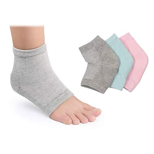Moisturizing Socks, 3 PairsMoisturizing/Gel Heel Socks for Dry Cracked Heels, Open Toe Socks, Ventilate Gel Spa Socks to Heal and Treat Dry, Gel Lining Infused with Vitamins (Pink, Turquoise