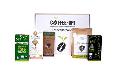 Coffee-Up-Entdeckerpaket: 5 milde Sorten – kompostierbare & aluminiumfreie Bio-Kaffeekapseln, Nespresso® kompatibel