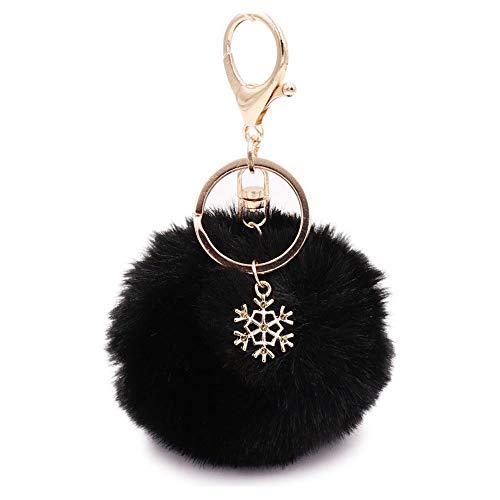 Pom Pom Keychain Artificial Fur Ball Keychain Fluffy Accessories Car Bag Charm (black01)