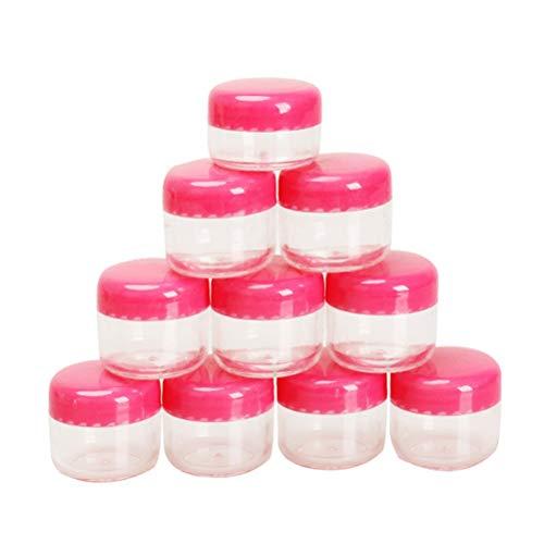 WI 10pcs Transparent Petite Bouteille Ronde crème Contenant de Pot for Les bocaux 5g Vide récipient d'échantillon en Plastique cosmétique for Le Stockage de l'art d'ongle