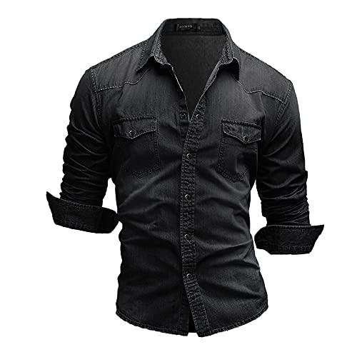 GTHTTT Camiseta para Hombre Tallas Grandes Otoño Estilo Vaquero Manga Larga T-Shirts con Bolsillo Frontal con Botones Slim Fit Casual Tops,Dark Gray,M