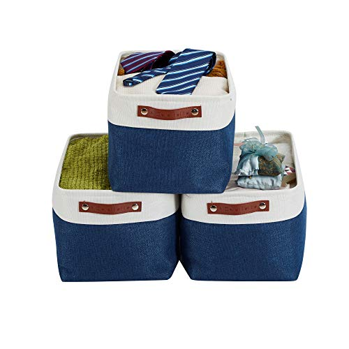 DECOMOMO Foldable Storage Bin  Collapsible Sturdy Cationic Fabric Storage Basket Cube WHandles for Organizing Shelf Nursery Home Closet Navy Blue and White Large - 3 Pack