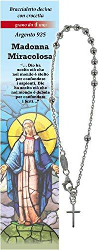 Pulsera Rosario Virgen de los Milagros con 11 cuentas de plata de 4 mm y una cruz