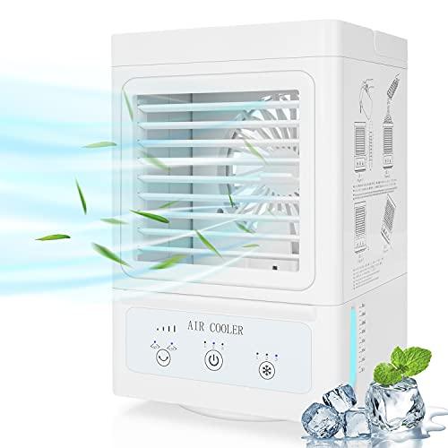 Fitfirst Mobiles Klimagerät mit Akku, 3 in 1 Tragbarer Aircooler: Klimaanlage, Tischventialtor, Luftbefeuchter, 3 Kühlstufen / 3 Geschwindigkeiten / 60°| 120°Auto Oszillation / 700ML Wassertank