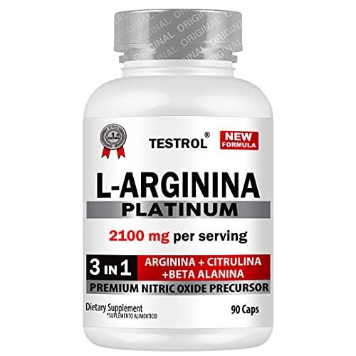 L-ARGININA Platinum 2100MG PER Serving, 3 in 1 ARGININA + CITRULINA + BETA ALANINA, Premium Nitric Oxide Precursor