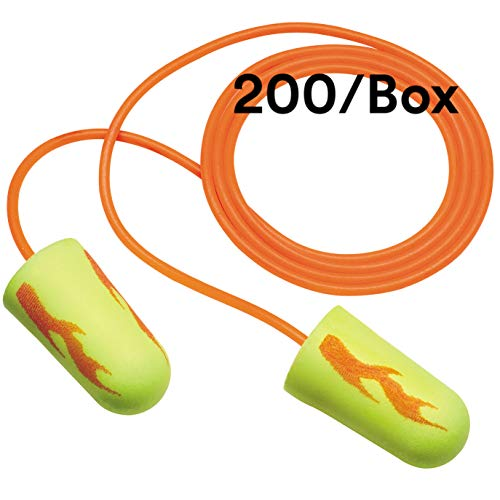 3M Ear Plugs, 200/Box, E-A-Rsoft Yellow Neon Blasts 311-1252, Corded, Disposable, Foam, NRR 33, Drilling, Grinding, Machining, Sawing, Sanding, Welding, 1/Poly Bag