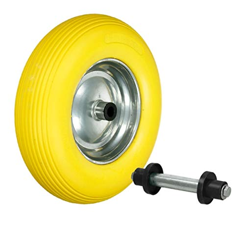 ECD Germany Schubkarrenrad aus pannensicherem PU Vollgummi mit Achse - Reifen mit Stahlfelge - 4.80/4.00-8 - Durchmesser 390 mm - Gelb - Ersatzrad Gummirad Schubkarren Rad