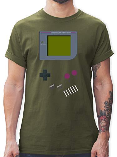 Nerds & Geeks - Gameboy - XL - Army Grün - 90er Jahre Herren - L190 - Tshirt Herren und Männer T-Shirts
