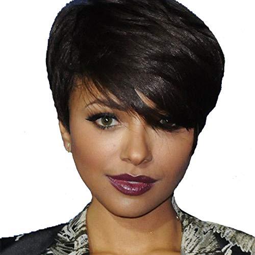 BECUS Naturel Noir 100% Perruque de Cheveux Humains Pixie Cut Court Côté Droit Perruque Partie avec Bangs pour Femmes utilisation quotidienne