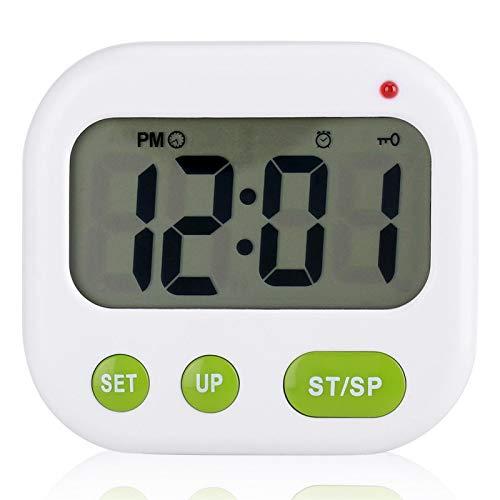 Marvellous Reloj Despertador, música/vibración Reloj Despertador LCD Digital Temporizador de Cocina electrónico con Soporte de luz de Fondo, Reloj de Escritorio para despertarlo