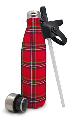 Nerthus Termo Doble Pared para Frios Y Calientes Diseño Cuadors Escoceses Rojos de Acero Inoxidable con Tapon Pajita, Rojo Escoces, 500 ml