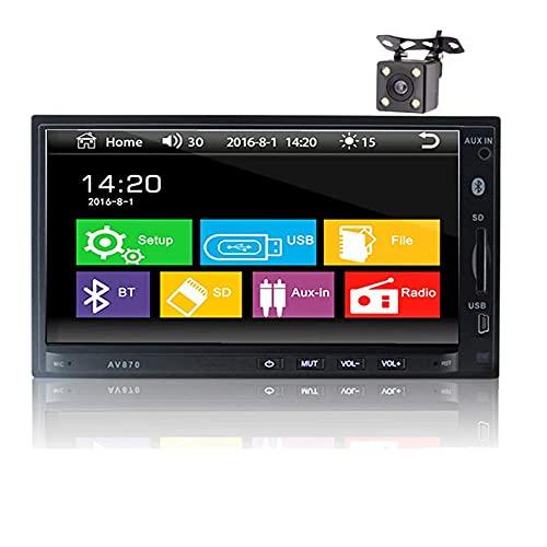 Car Radio Bluetooth 7 Pulgadas Doble DIN Car Stereo Mp5 Player 1080P Pantalla Táctil Pantalla Digital Multimedia con Cámara 4LED Soporte RDS FM AUX USB SD