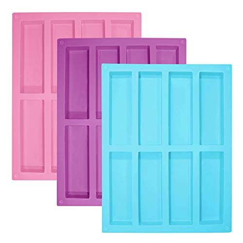 Senhai, 3 stampi rettangolari in silicone, 8 cavità, flessibili e antiaderenti, per sapone, barrette energetiche, cereali, bar, cioccolato, torta, pane, pane, rosa, blu, viola