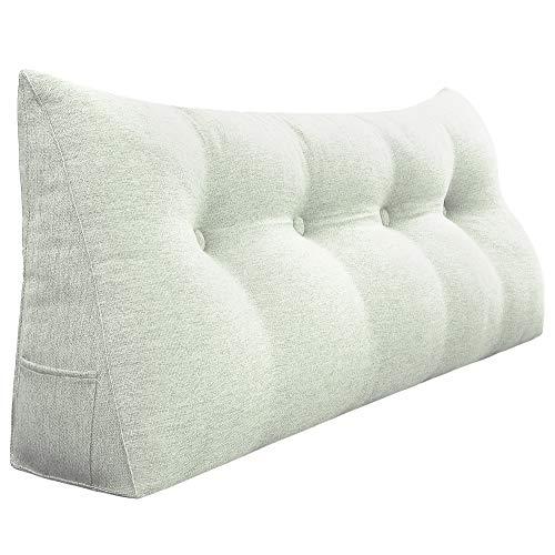 VERCART Rückenkissen Nackenstützkissen kopfkissen für Sofa Bett mit Waschbar Bezug Weich Bequem Leinen Elfenbein Weiß 120cm