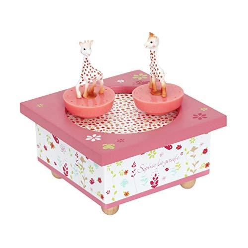 Trousselier - Sophie Die Giraffe - Tanzende Musikbox - Spieluhr- Ideales Geburtsgeschenk - 2 abnehmbare Figuren - Einfache Bedienung - Musik Feelings - Farbe rosa
