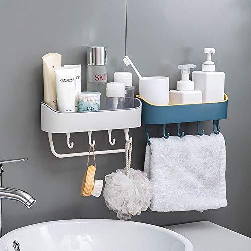 Barra de ropa pared Comprar uno obtener una bandeja gratis con 4 ganchos 1 toalla barra de rack rieles ducha Caddy auto adhesivo montado en la pared Organizador de ducha, Shampoo Artículos de aseo Est